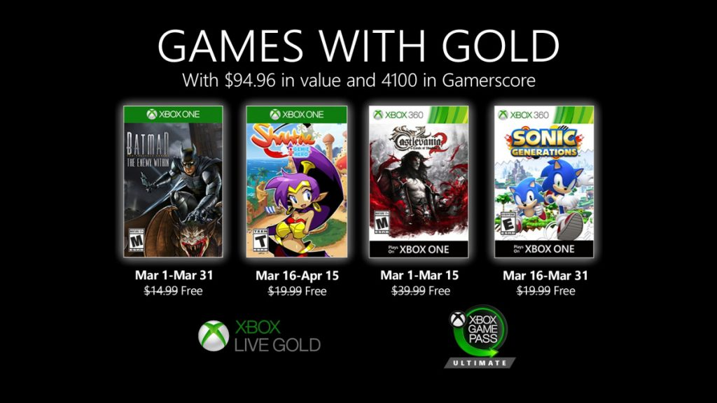 Xbox Game Pass with gold March 2020