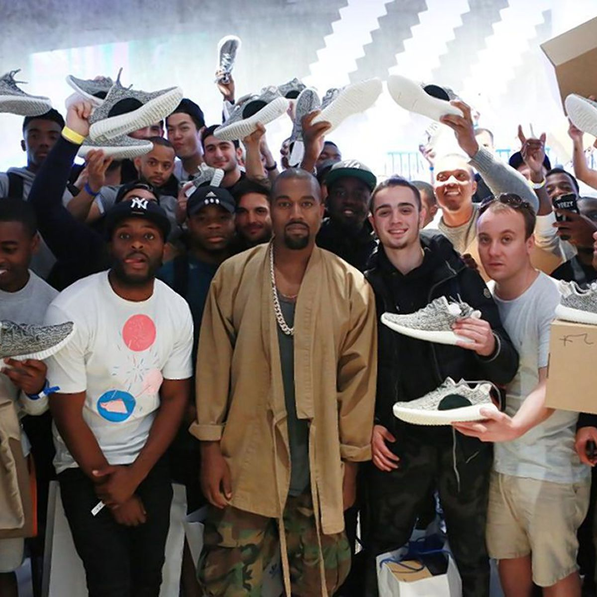 Kanye at the launch of his brand Yeezy 350s.