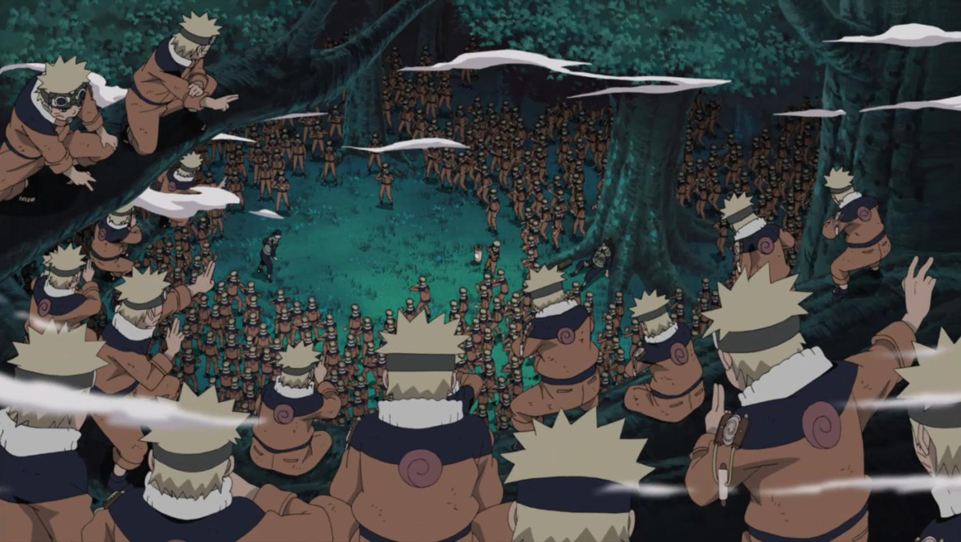 Naruto beats Mizuki with thousands of shadow clones