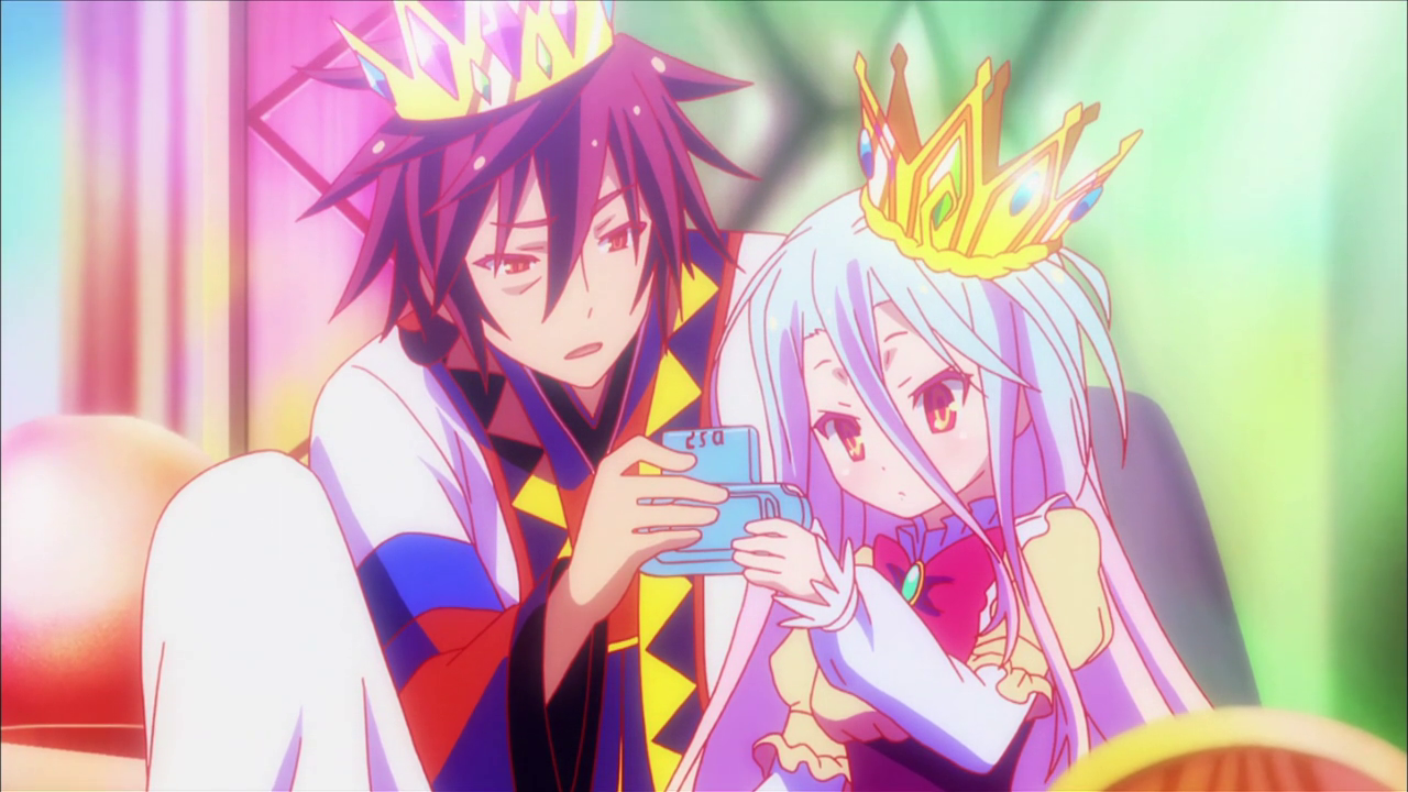 Sora and Shiro- The siblings play together after being crowned