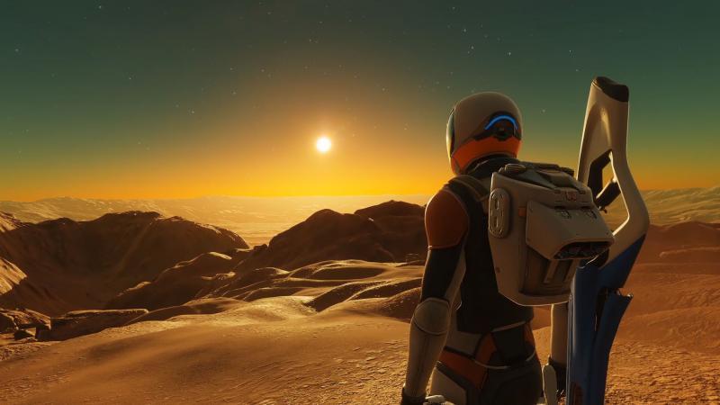 Elite Dangerous: Odyssey lets you set foot on an alien world.