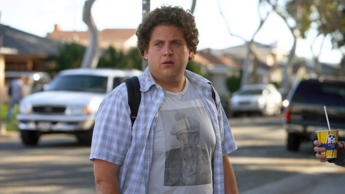 Jonah Hill poses in one of the scenes from 2012 movie'21 Jump Streert'