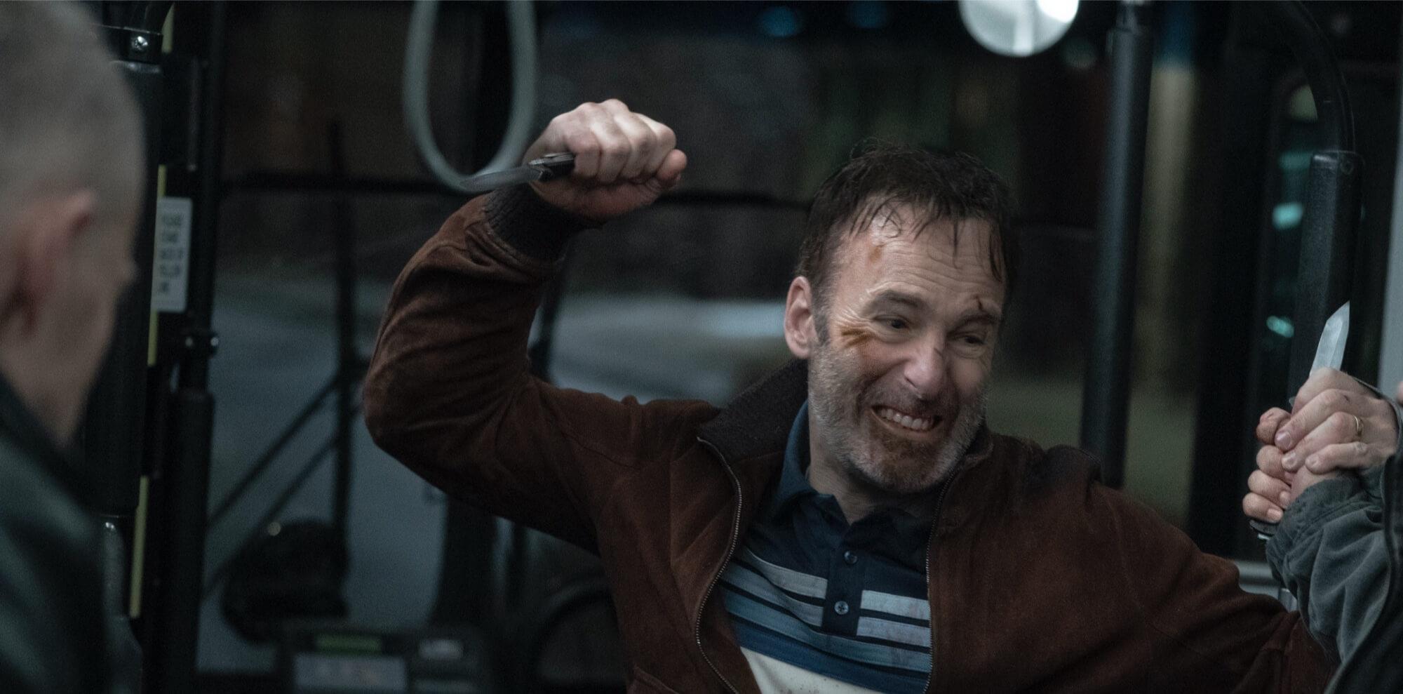 Bob Odenkirk as Hutch Mansell. Nobody 2021.