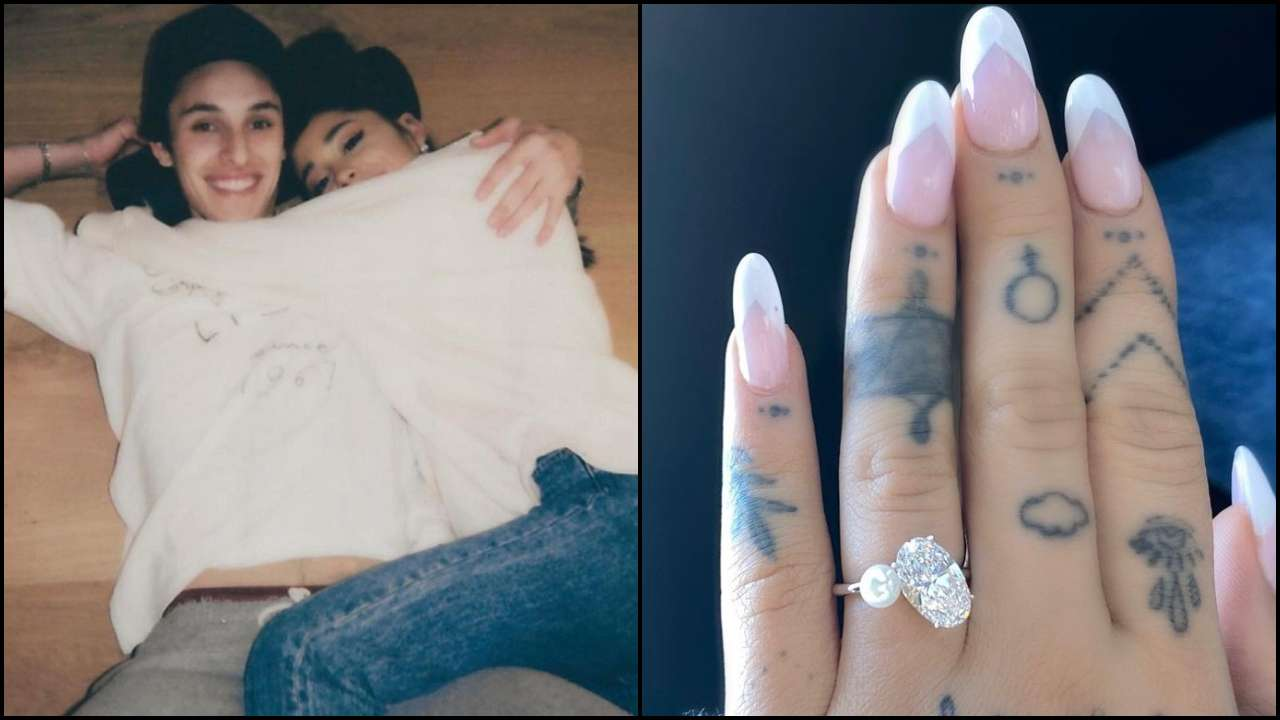 Ariana with Dalton Gomez and the picture of her engagement ring