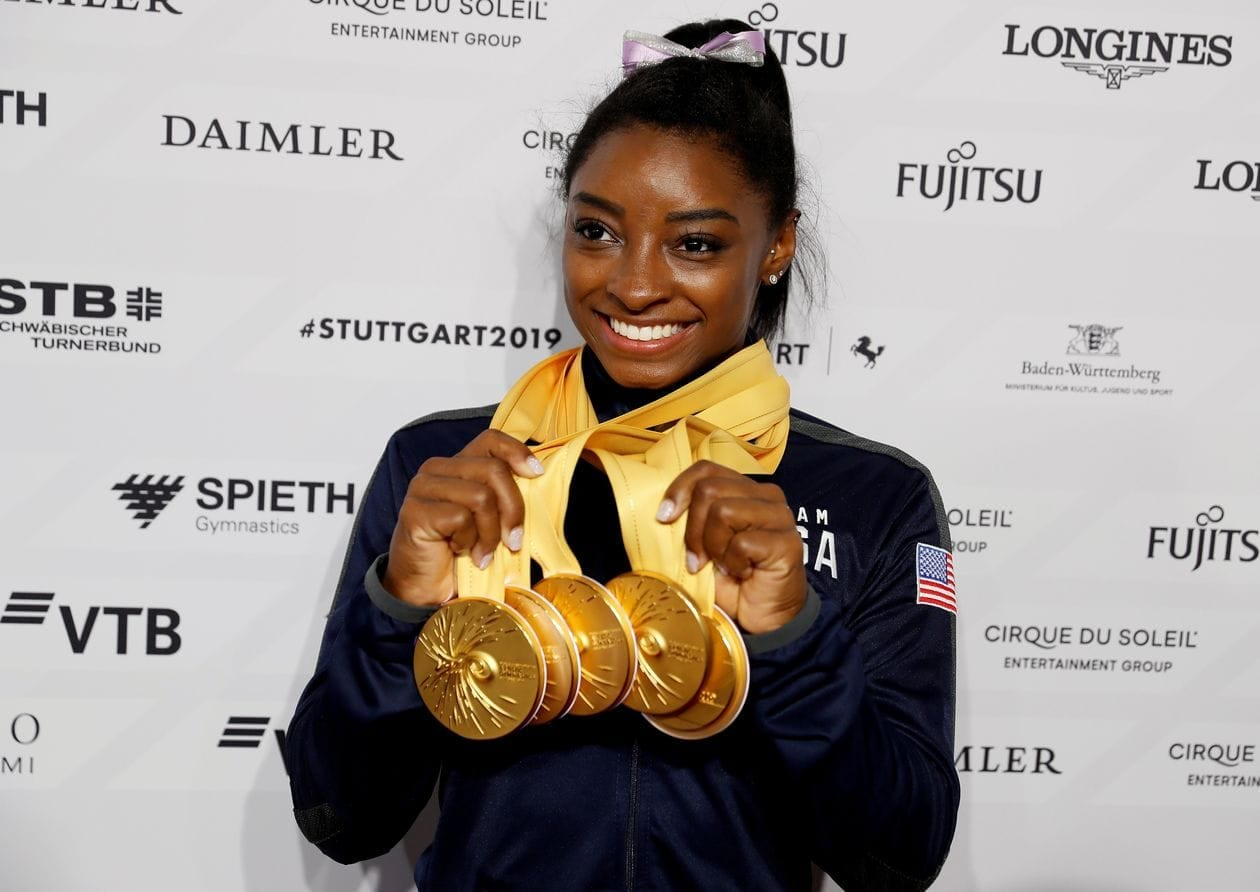 With her Gold Medals