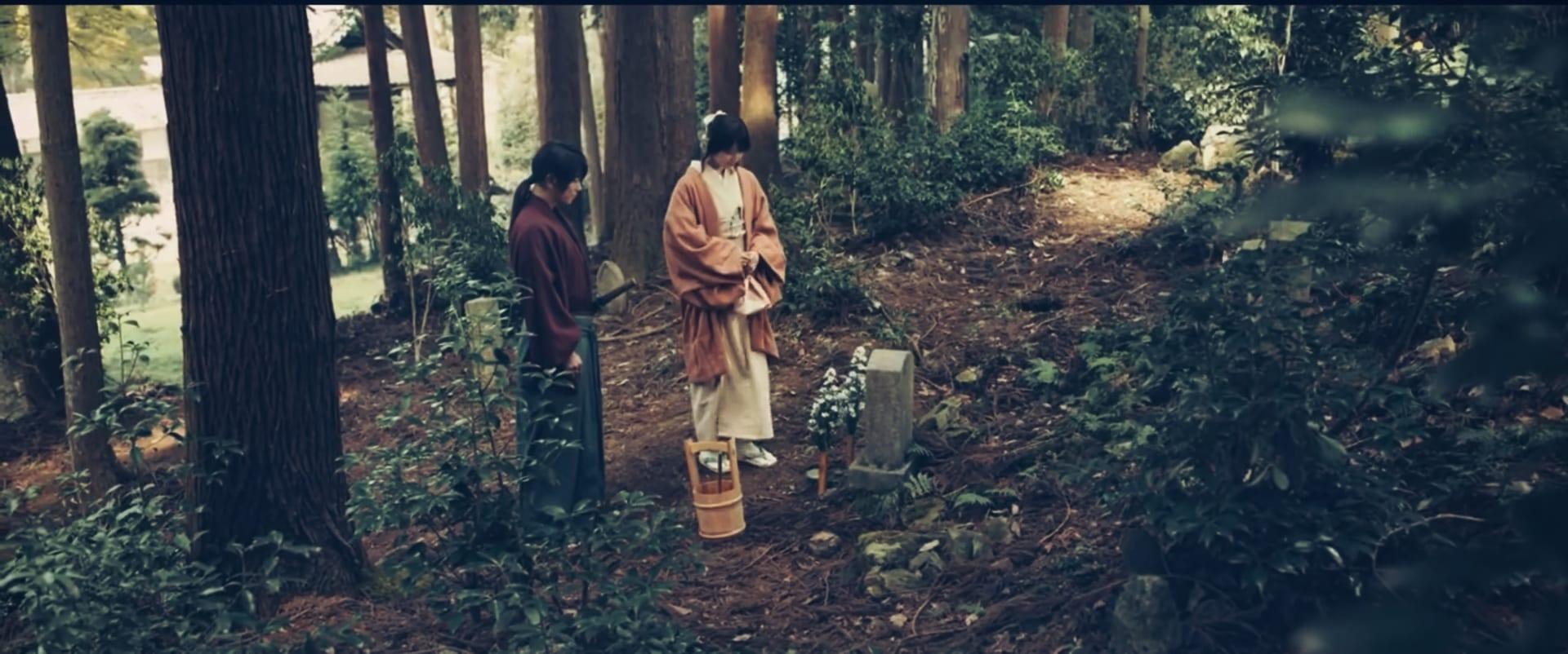kaoru and Kenshin visit Tomoe grave