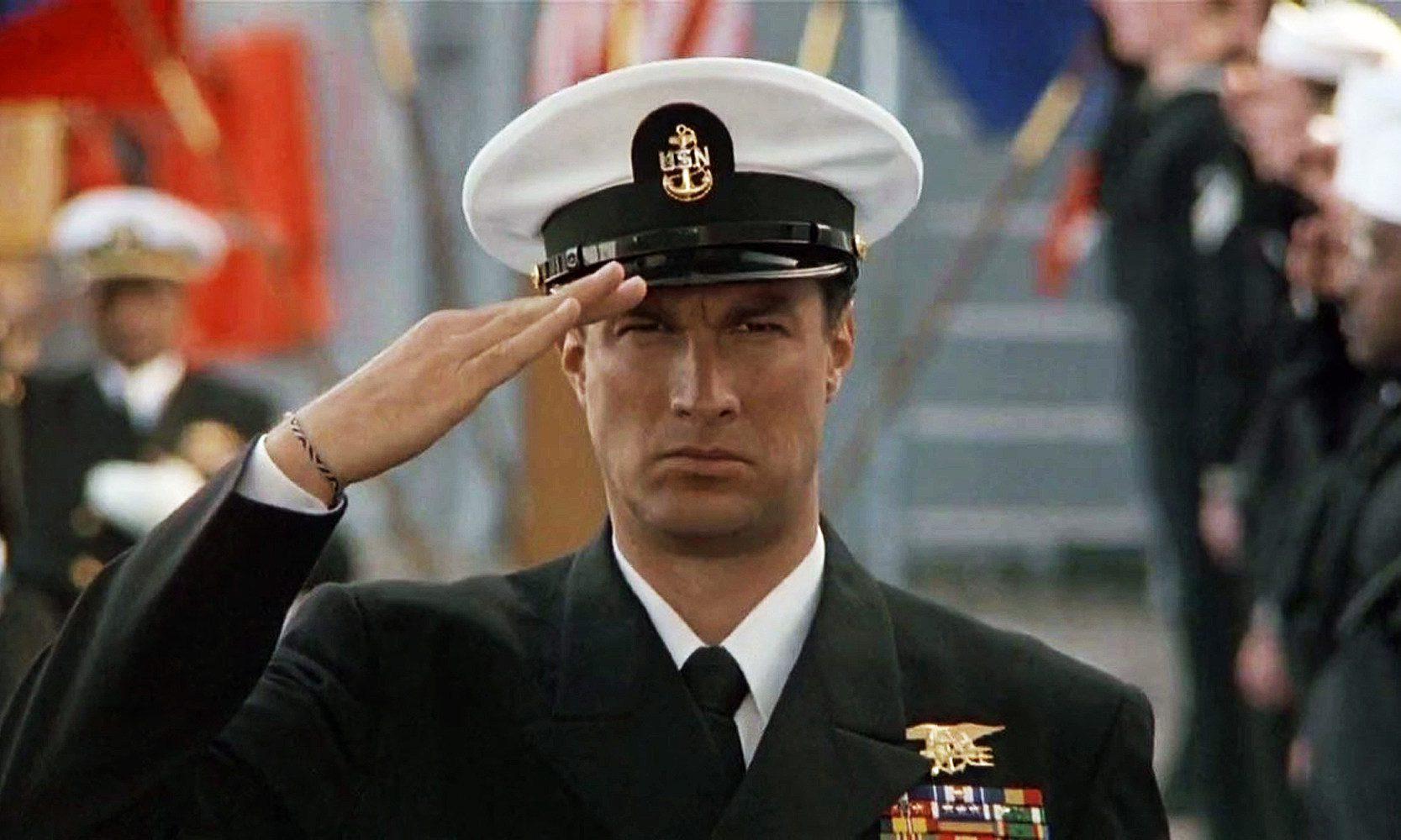 Steven Seagal saluting