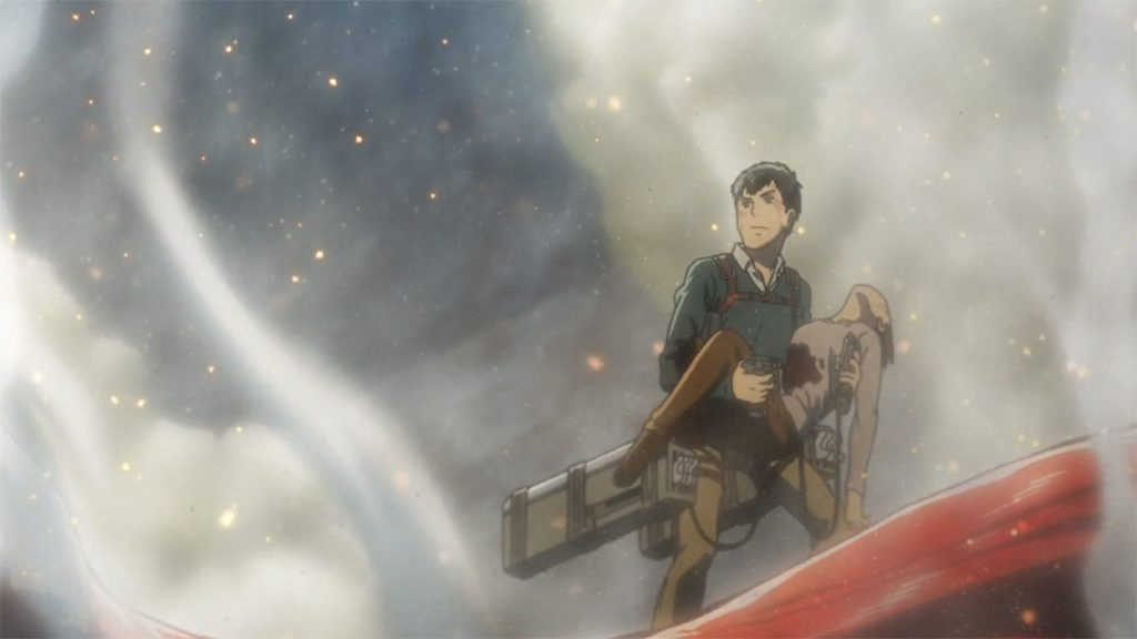 Reiner and Bertholt kidnapping Eren Yeager.