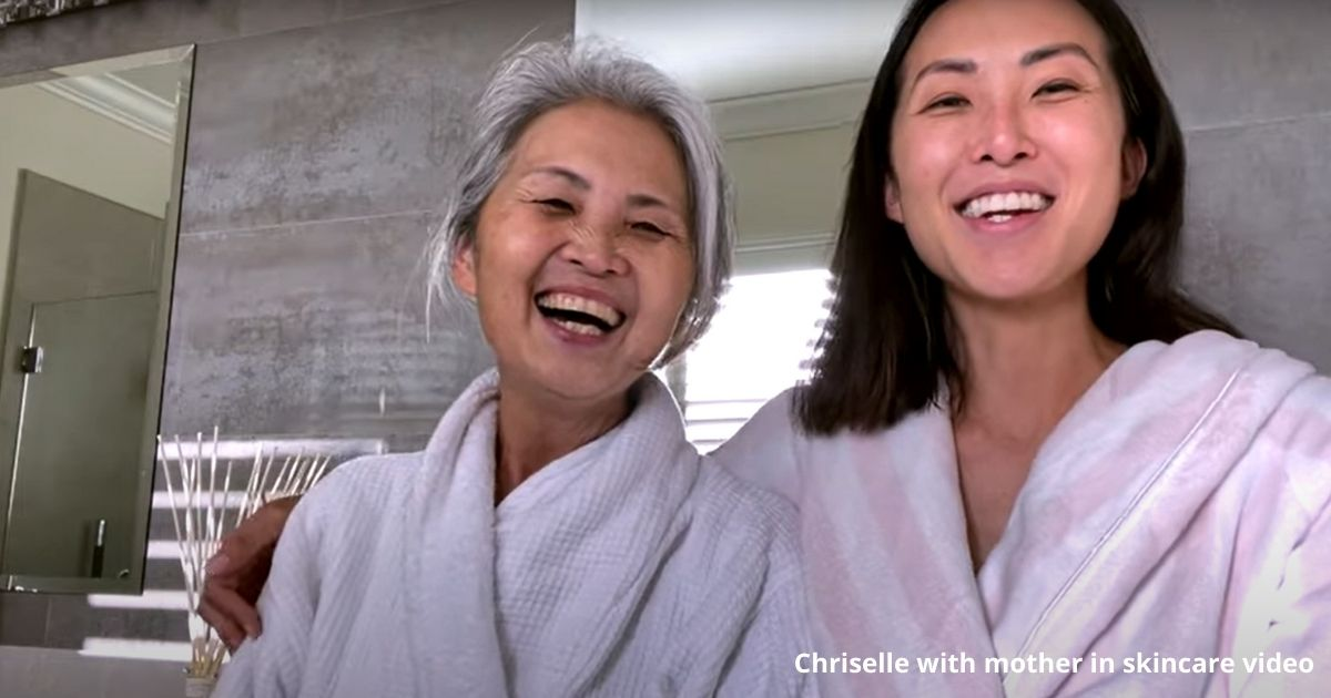 Chriselle Lim's with mother in skincare video
