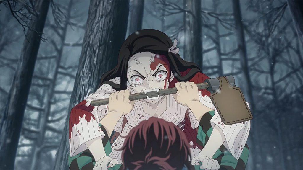 Nezuko attacks Tanjiro