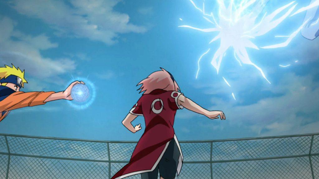 Sakura running to stop Sasuke and Naruto.