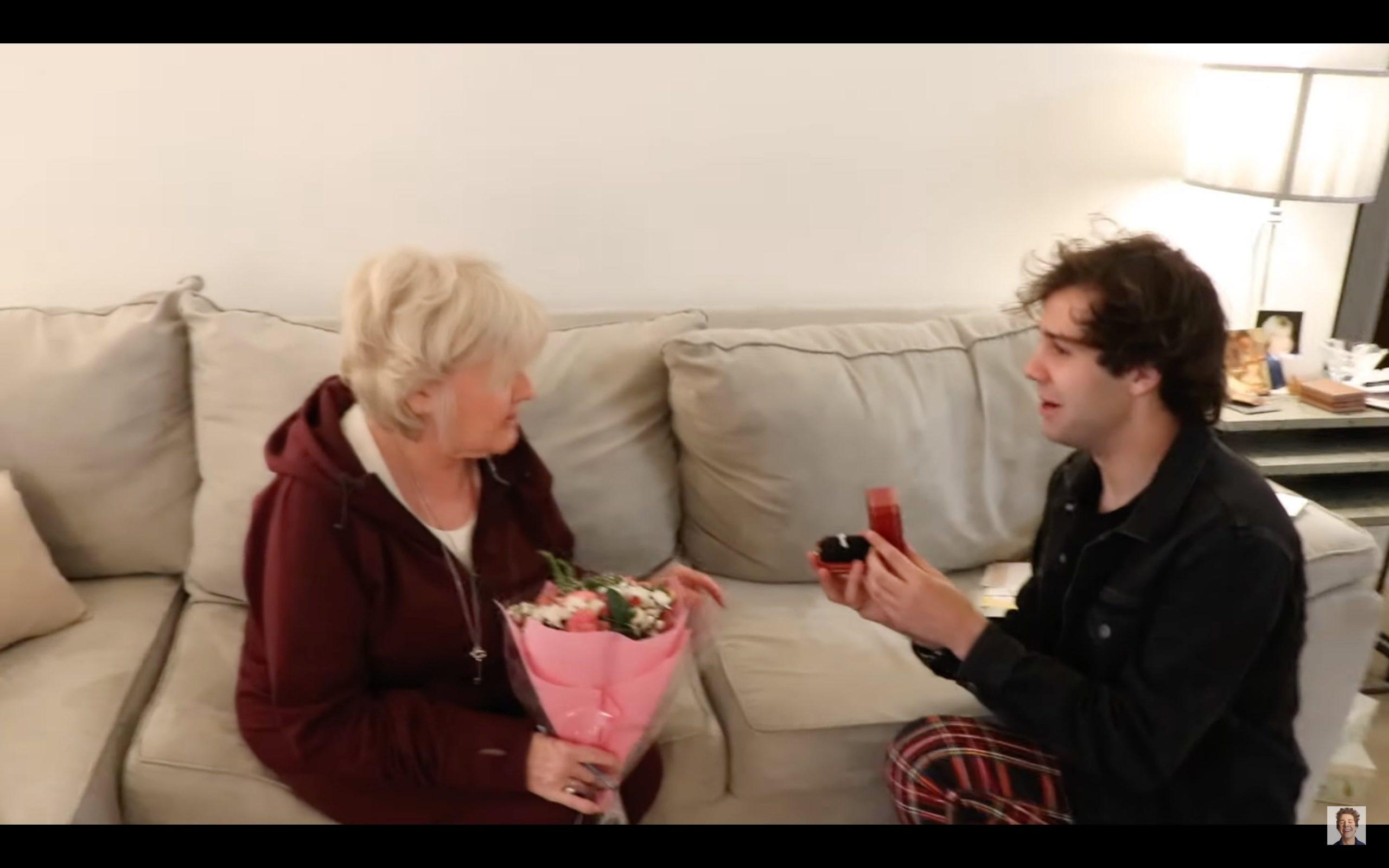 David Dobrik proposing to Lorraine Nash