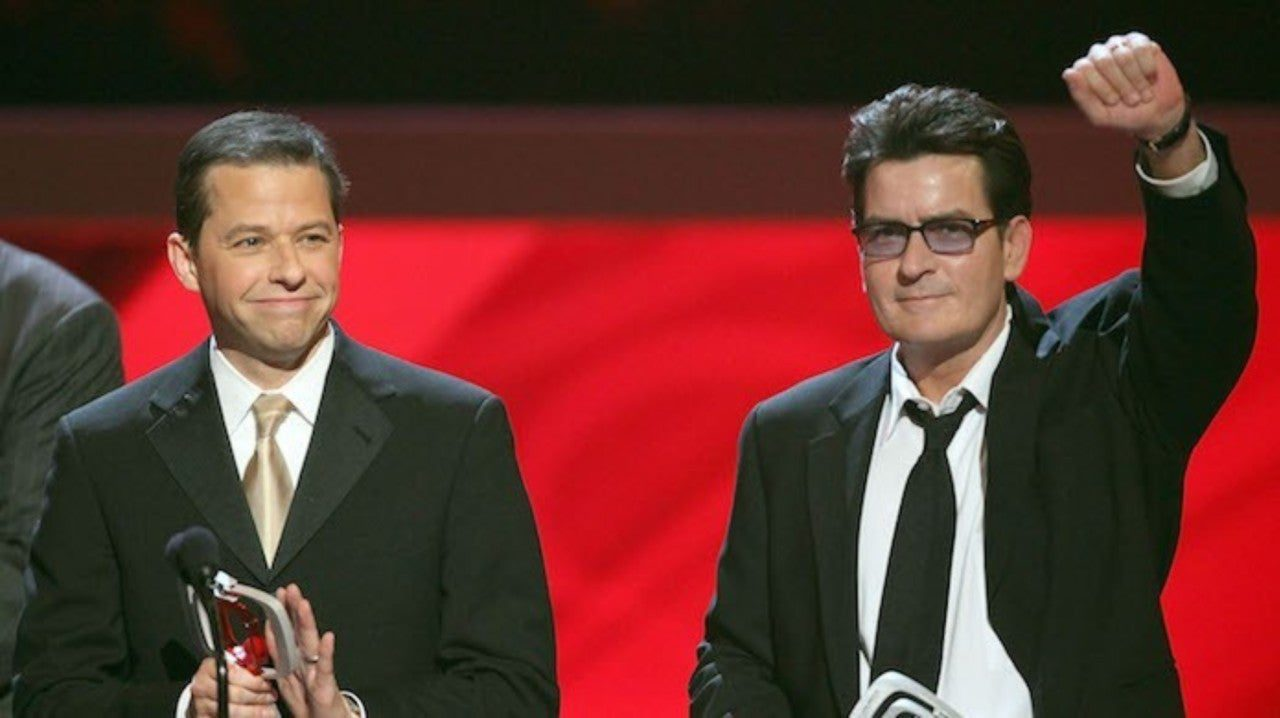 charlie sheen with award