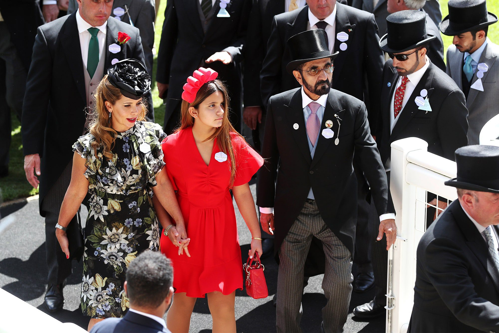 Princess Haya with daughter and husband